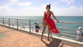 dress blown up by wind