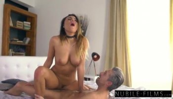 Breasty chick fucks a toy in an art porn clip